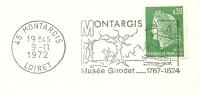 Cover Flamme Meter MONTARGIS Musee Girodet 1767-1824 Montargis Loiret 9/11/1972 - Musea