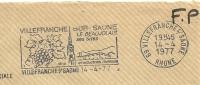 Cover Flamme Meter VILLEFRANCHE Sur Saune Le Beaujolais 14/4/1977 Free Postage - Wines & Alcohols