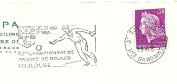 Cover Flamme Meter Toulouse 42e Championnat De France De Boules 12/7/1960 - Postzegels