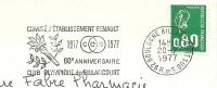 Cover Flamme Meter Boulogne Comite D'Etablissement RENAULT 1917-1977 Club Olympique De Billancourt 20/7/1977 - Auto's