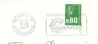 Cover Flamme Meter Cannes Le Soleil 12/12/1977 - Vakantie & Toerisme