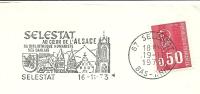 Cover Flamme Meter SELESTAT Au Coeur De L'Alsace Sa Bibliotheque Humaniste Des Dahlias 16/11/1973 - Kerken En Kathedralen