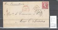 France  Lettre Pour Les Etats Unis - Paris - Nouvelle Orléans - Louisianne - 1867 - 1849-1876: Période Classique