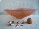 Lustre Plafonnier Vasque à Suspension Verre Saumon Années 30 Relief Fleuri + Accessoires. Voir Photos - Luminaires