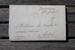 Lettre D´Amiens Pour Hesdin Marque Postale Manuscrite Lenain N°1 - Marcophilie (Lettres)
