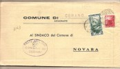 Italia - Atto Comunale Da Cerano (NO) Al Comune Di Novara - 1952 - 1946-60: Marcofilia