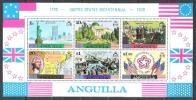 Anguilla 1976 Geschichte Unabhängigkeit USA Freiheitsstatue Capitol Washington Teaparty Fahnen Flaggen Flags, Bl. 9 ** - Anguilla (1968-...)