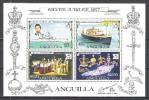 Anguilla 1977 Geschichte Persönlichkeiten Royals Königin Elisabeth Prinz Charles Schiffe Minerva Insignien, Bl. 15 ** - Anguilla (1968-...)