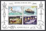Anguilla 1977 Geschichte Persönlichkeiten Royals Königin Elisabeth Prinz Charles Schiffe Minerva Insignien, Bl. 17 ** - Anguilla (1968-...)
