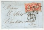 PARIS - 1854 - LAC - YT#16 (x2) Oblitérés étoiles Pleines - CAD 1330 1ère Dest. Route 9 (Toulouse) Pour Chateauroux - 1849-1876: Periodo Clásico
