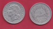 FRANCE, 1945, VF , Circulated 5 Franc Coin, Aluminium, Open 9, B,  KM888b.2, C2882 - J. 5 Francs