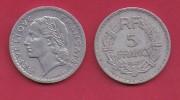 FRANCE, 1947, VF , Circulated 5 Franc Coin, Aluminium, Open 9, B,  KM888b.2, C2883 - France