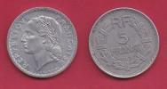 FRANCE, 1949, VF , Circulated 5 Franc Coin, Aluminium, Open 9, B,  KM888b.2, C2884 - France