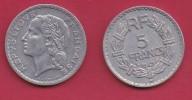FRANCE, 1949, VF , Circulated 5 Franc Coin, Aluminium, Closed 9, B,  KM888b.2, C2886 - France