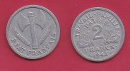 FRANCE, 1943, VF , Circulated 2 Franc Coin, Aluminium, KM 904.1, C2888 - France