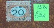 """C.i. 057 - Somalia Italiana   - 1923 - """" Segnatasse 20 Besa """"  Usato - Somalia"""
