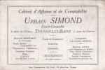 Carte De Visite. Cabinet  D´Affaires  Et  De  Comptabilité . Urbain  SIMOND. THONON-LES-BAINS. ( Format: 12 Cm. X 8 Cm.) - Cartes De Visite