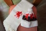 Pays De Galles - Dragon - Y Ddraid Goch - Echarpe + Bonnet Laine Vierge Tricotés Main - Scarves