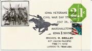 Hommage Aux Veterans D'Iowa, Enveloppe Souvenir, Entier Postal. , Adressé Au Texas - Event Covers