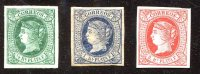 THREE CUBA 1862-4 1/2, 1 & 2 REALES QUEEN ISABELLA. IMPERF. MINT HINGED. - Cuba (1874-1898)