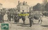 Cpa 28 Nogent Le Rotrou, Place Du Champ De Foire, Beau Plan D'une Famille De Fermiers, Affranchie 1908 - Nogent Le Rotrou