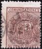 09-123 SPAIN 1874 ED. 153 ESCUDO DE ESPAÑA USADO VARIEDAD MUY DESCENTRADO RRR LUJO SPANIEN ESPAGNE SPANJE - Usados