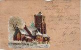 Bois - Fantaisies - Découpi - Carte En Bois Voyagée - Eglise De Clamart - Cachets Clamart Meulan 1905 - Cartes Postales