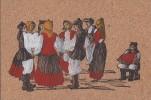 Fantaisies - Peinture Sur Liège - Folklore Sarde  - Accordéon - Cartes Postales