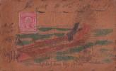 Fantaisies - Carte En Cuir Voyagée - New-York Paris 1900 - Timbre Taxe - Amoureux Barque Gliding Down Life's Stream - Cartes Postales