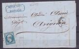 NAPOLEON N° 14   SUR LETTRE - 1853-1860 Napoléon III