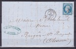 NAPOLEON N° 14   SUR LETTRE - 1853-1860 Napoléon III.