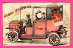 Carte Système - Bonne Année De Pantin - Voiture - Fiacre - Dessin - 1907 - Colorisée - Taxi & Carrozzelle