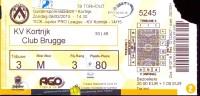 Inkom Ticket Toegangskaart Voetbal - Match -  KV Kortrijk - Club Brugge - 2012 - Tickets - Entradas