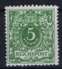 Deutsches Reich: Mi.nr  46 B  MH/*/Falz Gelblichgrün