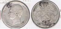 BELGICA BELGIQUE 5 FRANCS 1853 PLATA SILVER X - 1831-1865: Léopoldo I