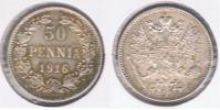 FINLANDIA RUSIA 50 PENNIA 1916 PLATA SILVER X PRECIOSA - Finlandia