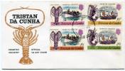 TRISTAN DA CUNHA ENVELOPPE 1er JOUR DES N°137/140 INDUSTRIE DE LA LANGOUSTE OBLITERATION TRISTAN DA CUNHA - Tristan Da Cunha
