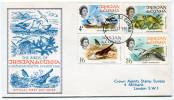 TRISTAN DA CUNHA ENVELOPPE 1er JOUR DES N° 116/119 OISEAUX OBLITERATION TRISTAN DA CUNHA 15 MAY 68 - Tristan Da Cunha