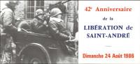 10 - SAINT-ANDRE-LES-VERGERS - Carton D'invitation 42 è Anniversaire De La Libération 1986 - Non Classés