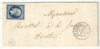 YT#14 Oblitéré PC 1161 ECOMMOY (Sarthe) 1857 Pour Dorthe - 1849-1876: Classic Period