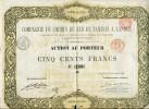 A3370) Belgien Aktie Von Bruxelles 1.11.1862 über 500 Francs