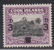 Cook Islands MH Scott #115 3p Surcharge On 1 1/2p Mt Ikurangi Behind Avarua - Wmk NZ, Star Multiple - Cook