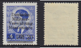 3665. WWII, Germany, Occupation Of Montenegro, 1943, Definitive With Overprint 20 Lire / 4 Dinars, MNH (**) - Ocupación 1938 – 45