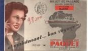 COMPAGNIE PAQUET POUR LE MAROC + MENU DU KOUTOUBIA - Transportation Tickets