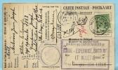 relais/sterstempel VILLERS-LE-TEMPLE 29/10/1912 op postkaart naar Charbonnages de Bonne-Esperance, LIEGE