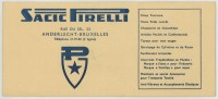 (Automobile) Buvard Sacic Pirelli, 33 Rue Du Sel, Anderlecht - Bruxelles. Pneus. - Automobile