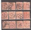 Lot De 12 Timbres Type MOUCHON & Retouché , 15 C Tous Obl Cachet à Date Du FINISTERE : Brest & Quimper - Marcophilie (Timbres Détachés)