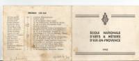 AIX EN PROVENCE (13) CARNET DE GADZ'ARTS (ECOLE NATIONALE D'ARTS ET METIERS) PROMOTIONS 139-142.138-142. 137-42 (1942) - Vieux Papiers