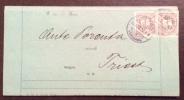 1898 - SZEGEDIN - SEGHEDINO Annullo Su COPPIA 1 - INTERESSANTE LISTINO COMMERCIALE PER TRIESTE - Marcophilie
