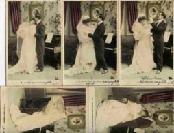 Série Complète 5 Cartes Couleur; Le Mariage Précurseur Dos 1900-Couple - Marriages